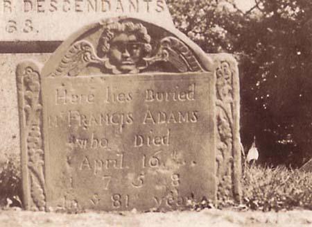 Gravestone of Francis Adams.