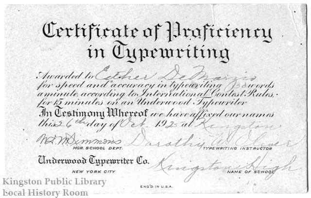"""Certificate of Proficiency in Typewriting,"" October 26, 1925"