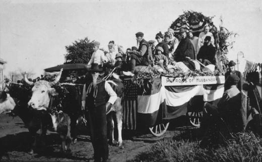 """Patrons of Husbandry"" parade float, 1919."