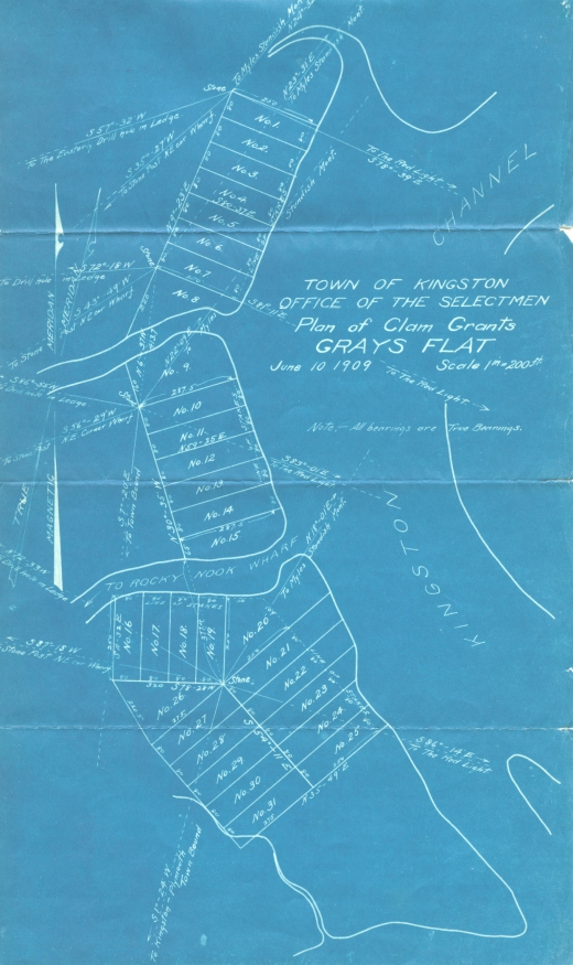 Town of Kingston Plan of Clam Grants, 1909