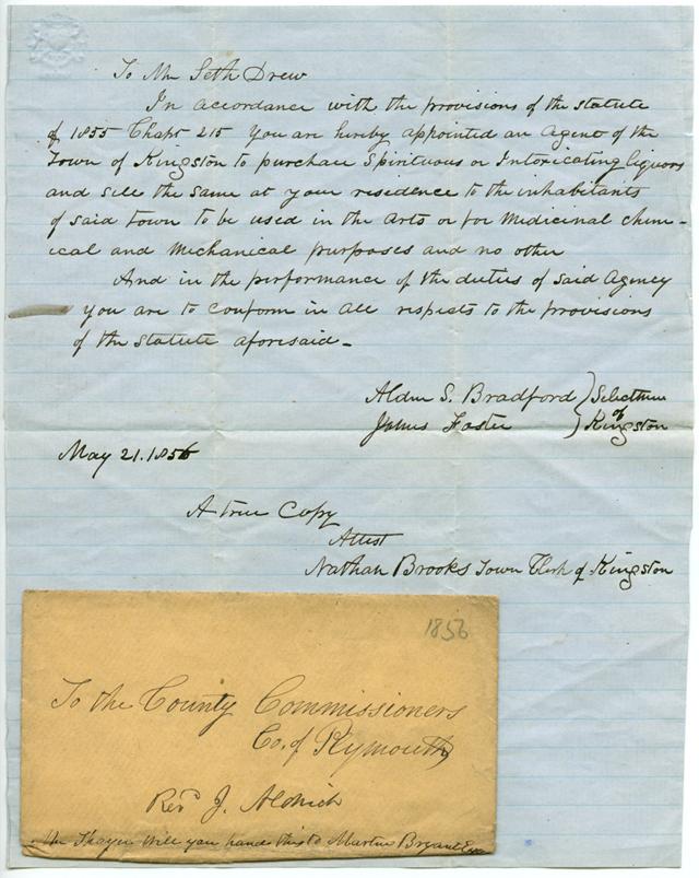 Seth Drew Liquor Agent appointment, 1856