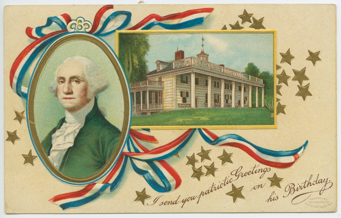 Washington's Birthday postcard, 1908?