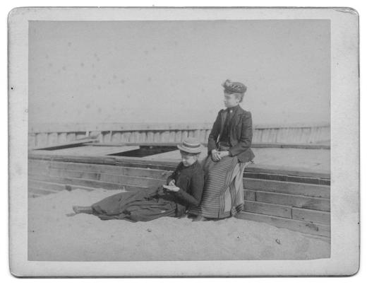 Miss Sevis and Miss Kelly on beach. Racine, June 12, 1890