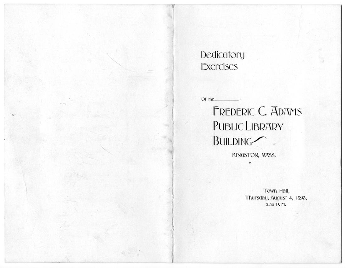 """""""Dedicatory Exercises"""" program, 1898"""