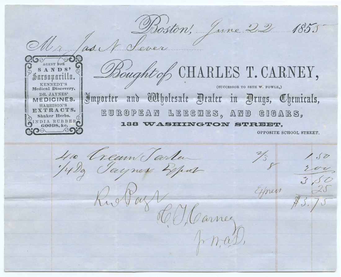 Bought of Charles T. Carney, June 22, 1855