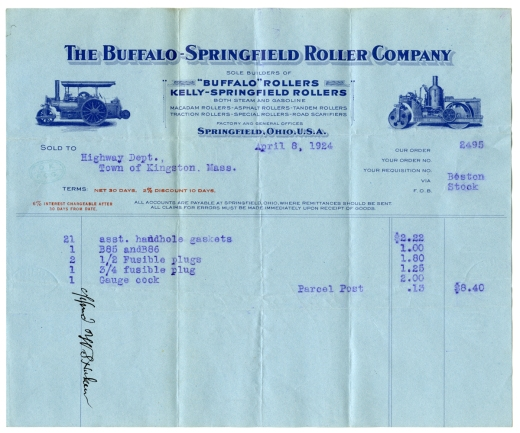 Buffalo-Springfield Company bill to Kingston Highway Department, 1924