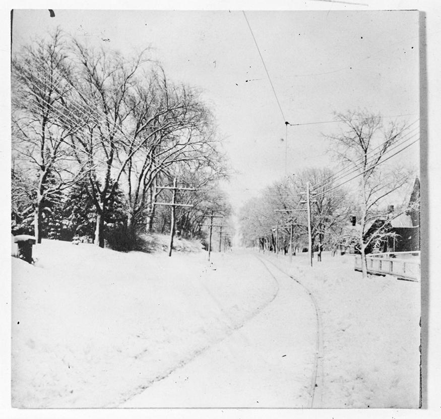 Snow on Main Street near Brook Street, circa 1925