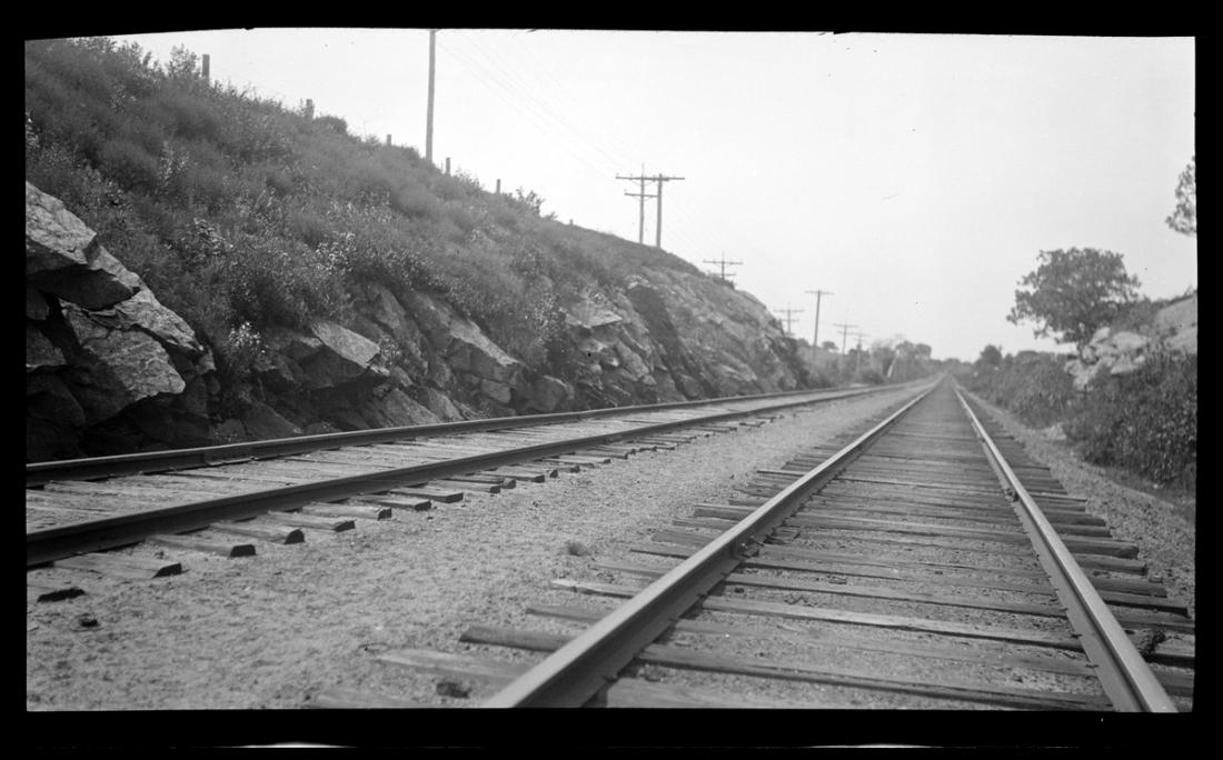 Railroad tracks, 1920. By Emily Fuller Drew.