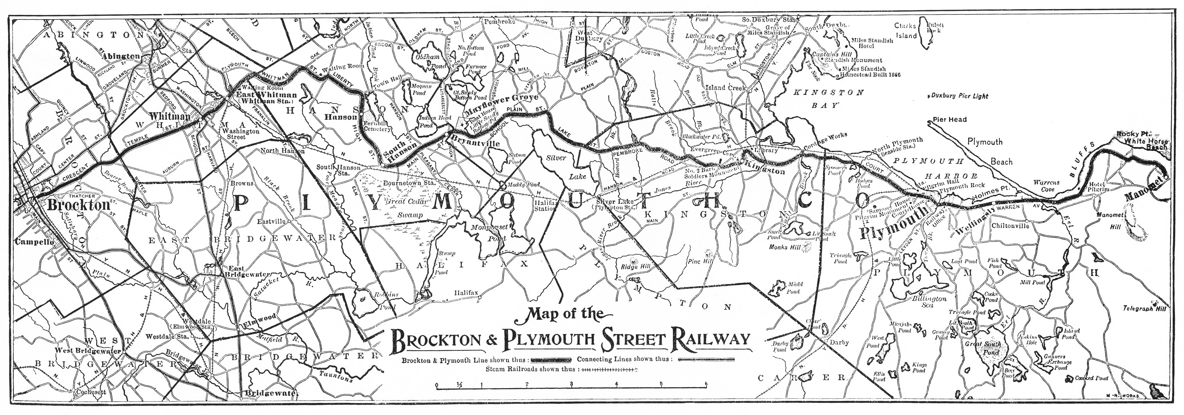 Map of the Brockton & Plymouth Street Railway, n.d.