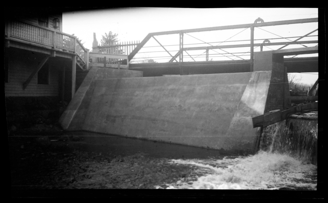 The new Elm Street dam, circa 1925, by E. Bird