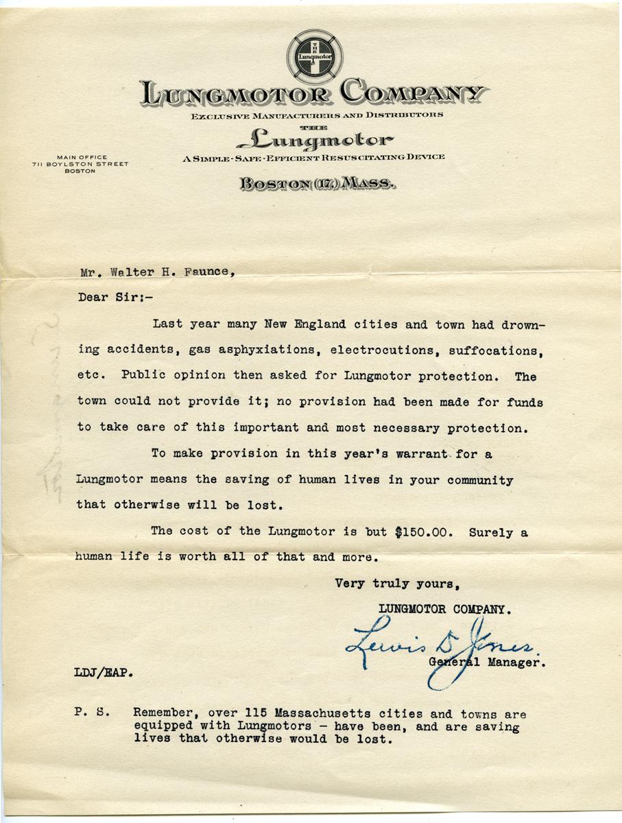 Lungmotor letter, circa 1920