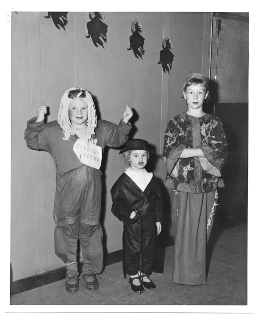 Halloween costumes at Kingston Elementary School, 1952